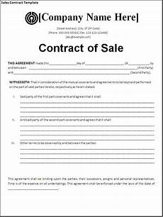 Sale Contract Samples Sales Agreement Template Cyberuse