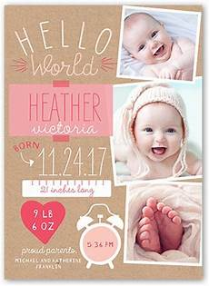 New Baby Announcement Cards Newest Arrival Girl 5x7 Birth Announcement Card Birth
