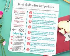 Transfer Apply Decal Application Instructions Care Card Printable Care Card