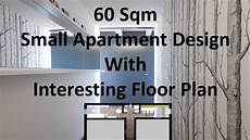60 sqm small apartment design with interesting floor plan