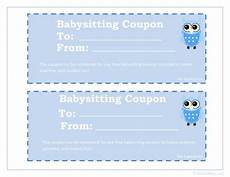 babysitting coupon templates printable babysitting coupon gifts pinterest