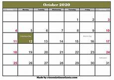 October 2020 Calendar Template Calendar Template Printable Part 2
