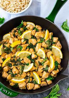lemon basil chicken with spinach healthy one pan recipe