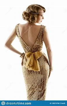 retro fashion model gold dress woman old fashioned beauty