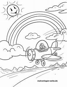 malvorlage regenbogen mit flugzeug kostenlose ausmalbilder