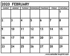 Calendars January 2020 February 2020 February 2020 Calendar Printable