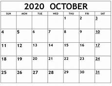 Blank 2020 Calendar By Month October 2020 Blank Calendar Editable Printable Calendar