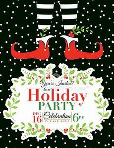 Printable Christmas Party Invitations Free Templates Elf Christmas Party Invitation Template Stock Vector
