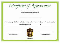 Example Of Certificate Of Appreciation For Guest Speaker 12 Genuine Samples Of Certificate Of Appreciation For