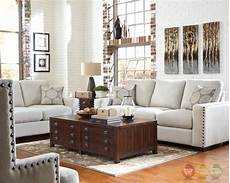 Nailhead Trim Sofa 3d Image by Rosanna Plush White Linen Sofa With Nailhead Trim
