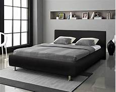designer bed king size black white faux leather