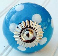 aqua blue w white dots ceramic cabinet knobs drawer pulls