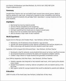 Pianist Resume Sample Professional Piano Teacher Templates To Showcase Your