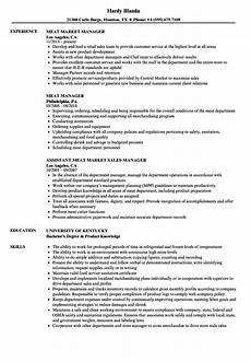 Butcher Job Description Grocery Store Department Manager Resume June 2020