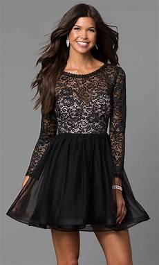 sleeve homecoming dresses black lace bodice sleeved homecoming dress promgirl