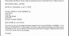 Insufficient Funds Letter To Customer Letter For Bounced Cheque Return To Party