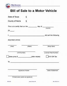 Bill Of Sale For Car In Texas Free Harris County Texas Motor Vehicle Bill Of Sale Mv