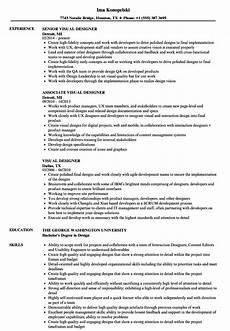 Visual Designer Resume Sample Visual Designer Resume Samples Velvet Jobs