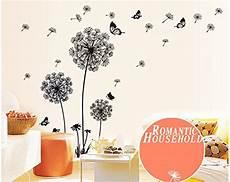 adesivi murali da letto ufengke 174 tarassaco neri e farfalle volano nel vento