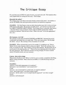 Critical Reading Essay Examples Critical Evaluation Essay Example Essay Writing Top