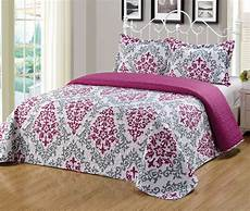 3pc king size floral printed quilts bedspread