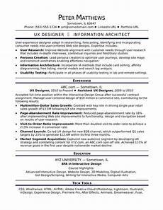 Resume Ux Designer Sample Resume For A Midlevel Ux Designer Monster Com