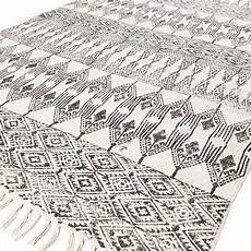 black white cotton block print area accent dhurrie rug