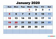 January 2020 Calendar Download Free Printable 2020 Calendar January As Word Pdf Free