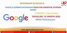 Apply Google Internship Google Summer Internship 2020 For 3 Months Stipend 6000