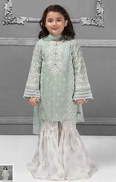 Baby Farooq Design Kids Kurta Gharara In Light Green Color Model Kids 1828