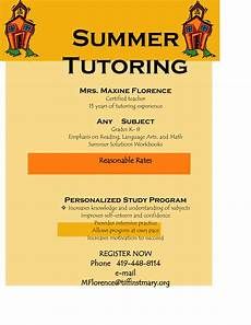 Tutoring Advertisement Flyer For Tutoring Services Offers Community Programs