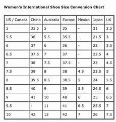 Ladies Footwear Size Chart Womens International Shoe Size Conversion The Barn