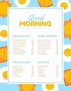 Breakfast Menu Layout Blue Yellow Illustrated Egg Breakfast Menu Templates By