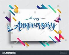 Happy Anniversary Design Happy Anniversary Calligraphy With Colorful Abstract