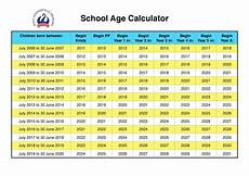 School Years And Ages Chart School Age Calculator