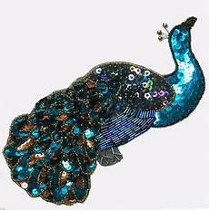 peacock applique sequin beaded large peacock applique 2388
