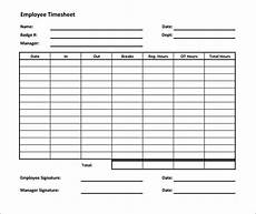 Employee Time Card Sample Employee Time Sheet Templates Business Form Letter Template