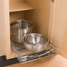 chrome roll out cabinet drawers the container store