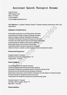 Speech Therapist Resume Resume Samples Assistant Speech Therapist Resume Sample