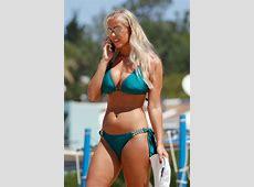 Chloe Meadows in a Green Bikini on a Beach in Portugal