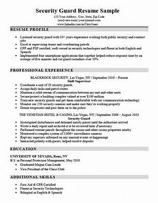 Security Job Resume Security Guard Resume Sample Amp Writing Tips Resume Companion