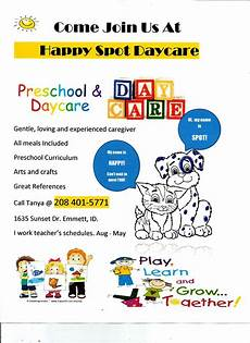 Home Daycare Ads Happy Spot Daycare Emmett Id Home Daycare
