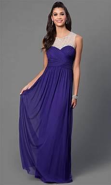 floor length sleeveless purple prom dress promgirl
