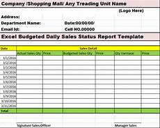 Daily Report Format In Excel Excel Budgeted Daily Sales Status Report Template Free