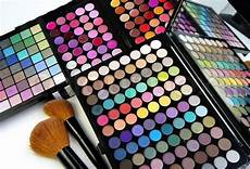 make up palette and brushes stock image colourbox