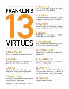 Benjamin Franklin Virtues Chart Ben Franklin S 13 Virtues My Hometown Franklin Named