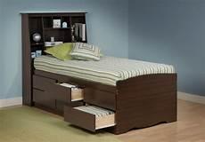 captain s platform storage bed w bookcase headboard