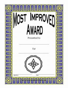 Most Improved Award Most Improved Award Two Certificate Templates Teachers