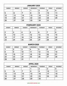 3 Month Calendar 2020 Free Download Printable Calendar 2020 4 Months Per Page