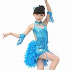 Light Blue Costume New Girls Sparkling Yellow Light Blue Rose Sequined Fringe